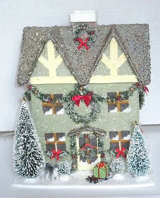 Large Glitter Cardboard Putz Whispering Hill Christmas House  Ooak New Lighted Y