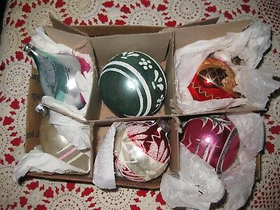 Antique Vintage Glass Christmas Tree Balls Ornaments indented hand blown mercury