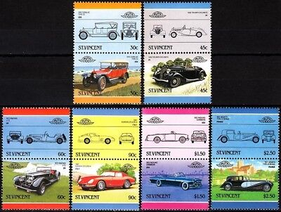 ST. VINCENT 1986 History of CAR. Part 5. Automobile Voiture Coche. 6 Pairs, MNH