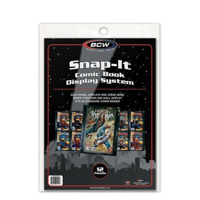 (2) Bcw Snap-It Comic Book Wall Display Panel Sleeve Holder Protectors