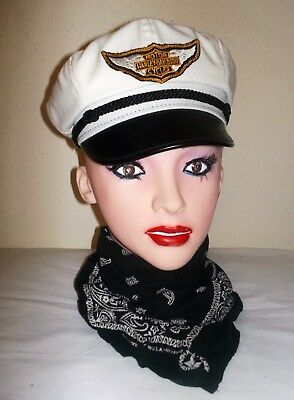 MINT Vtg 50's Style HARLEY Road Captain BRANDO Cap HAT Rockabilly S~MADE IN USA