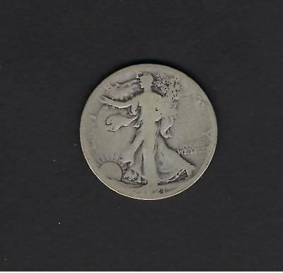 US 1921-S Silver Walking Liberty Half Dollar in AG About Good Condition