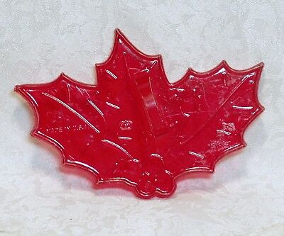 Vintage Red Plastic Cookie Cutter - Holly & Berries Christmas Nature Leaf HK