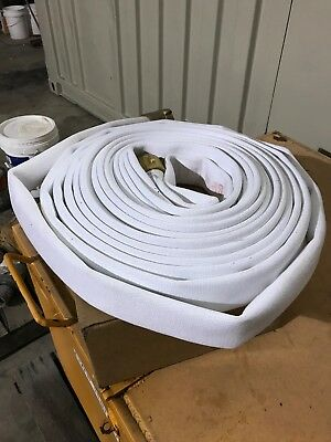 "1-1/2"" x 50 Ft Fire Hose with Brass NST Couplings Polyster lined -250Psi Test"