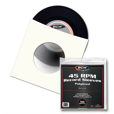 (2) BCW PAPER RECORD SLEEVES 45 RPM WHITE POLYLINED SQUARE CORNERS with HOLE