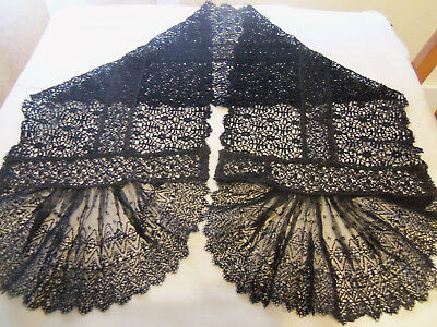 Beautiful Antique Victorian Black Mourning Scarf Corded Lace with Net Lace