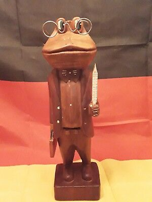 """Hand Carved Wooden FROG 14"""" Tall Folk Art Excellent Condition Brief Case"""