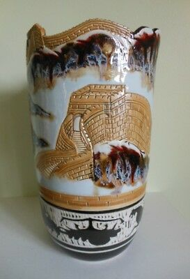 """Large 11"""" Great Wall of China Vase Hand Thrown Studio Pottery"""