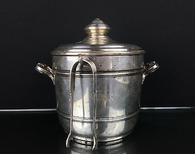 Elegant Vintage Sterling Silver Ice Bucket With Ice Tong Marked By Cartier