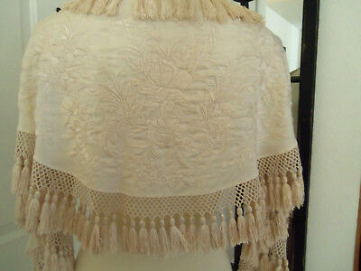 Beautiful Antique Victorian Silk Embroidered Knotted Fringe Half Shawl Short