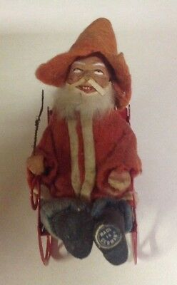 Vintage Antique German Santa composition face Germany with Sleigh