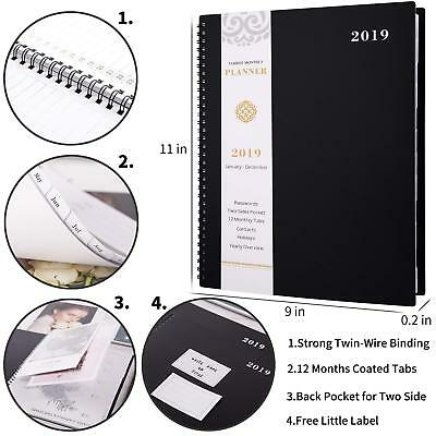 2019 Monthly Planner with Tabs Pocket Contacts & Passwords Day Organizer