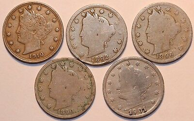 LOT OF 5 LIBERTY HEAD NICKELS . See photo for dates   #DB188