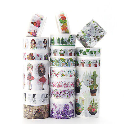 4-8 Roll Cute Girl Floral Washi Tape Set Masking Adhesive Paper Decor Sticker