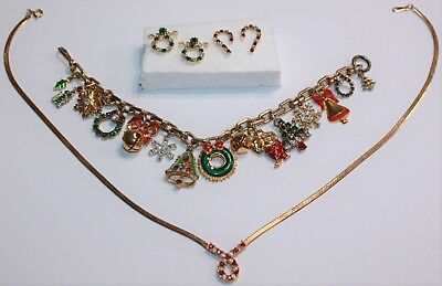 CUTE VTG CHRISTMAS RHINESTONE LOT w/2 pr EARRINGS, 1 NECKLACE & 1 CHARM BRACELET