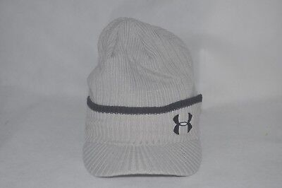 New Under Armour UA Embroidery Knit Cuff Brim Beanie Gray Men's Hat 7 - 7 1/2