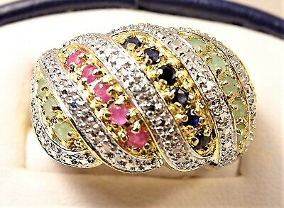 Beautiful Ruby Emerald Sapphire Gold over Sterling Silver Sz 7.75 Dome Ring