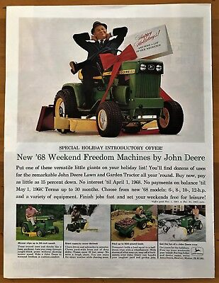 1968 John Deere Special Holiday Intro Offer Vintage Print Ad 10 x 14 inches