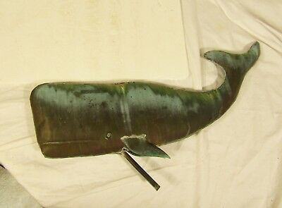 Antique Copper Sperm Whale Weathervane Topper Hollow