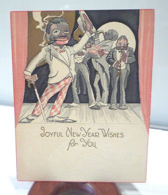 antique 20s art deco new year card black americana jazz band on stage gold gilt