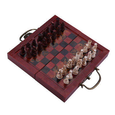 Chess Table Set Antique Classic Board Game Wooden Storage Box Vintage Gift