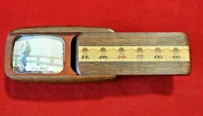 Vintage Sankyo Japan Inlaid Wood Girls Dancing Sliding Lid Musical Trinket Box