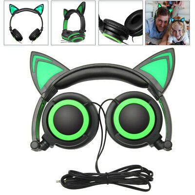 LED Music Lights Foldable Cat Ear Headphone Earphone Headset For Laptop iPhone U