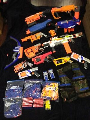 Nerf Gun lot great condition 13 guns 557 bullets Must See! Fast shipping!