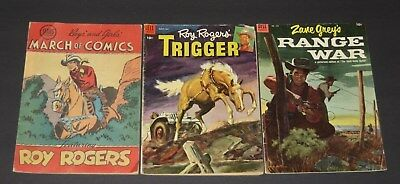 Lot/Golden Age Westerns/March of Comics Roy Rogers #62 Trigger #12 Range War 555