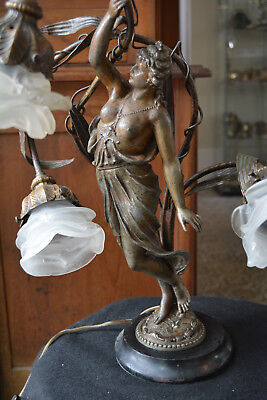 Antique Victorian Spelter Newel Post Partial Nude Lady Figural Lamp C. 1890s
