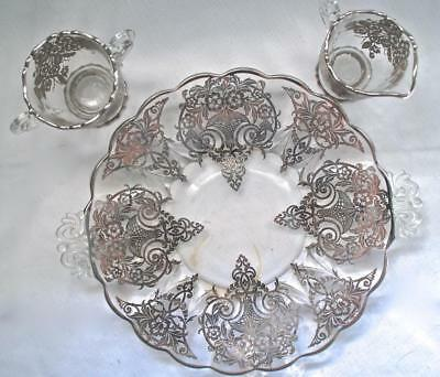 Vtg Glass Serving Platter, Creamer & Sugar Bowl w/ Silver Overlay Dining Set Atq