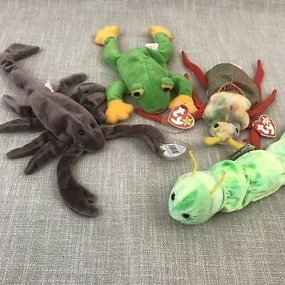 Ty Beanie Baby LOT (Bugs+Amphibians) Smoochy, Squirmy, Scurry, and Stinger