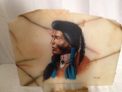 Beautiful Native American Indian Painting On Marble Slab With Marble Base