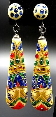Vintage Art Deco Egyptian Revival Celluloid Rhinestone Earrings – c. 1920's