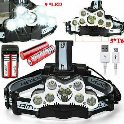 150000LM Headlamp Headlight 9x T6 LED Torch 18650 USB Rechargeable Flashlight US