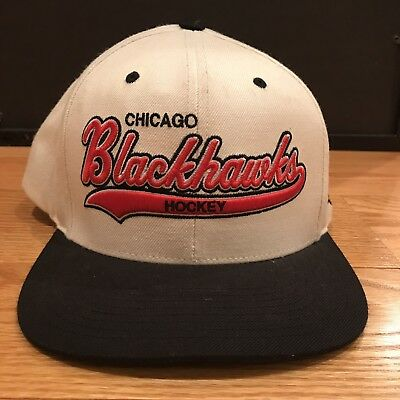 NHL Chicago Blackhawks Mitchell And Ness White Wool SnapBack Hat Cap