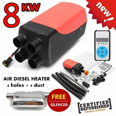 8KW 12V Air diesel Heater 4 Holes,4 Duct,Car Bus Trucks Motor-Homes Silencer PO