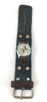 Vintage Bradley Swiss Made Mickey Mouse Watch & Disney Cowboy Wide Leather Band