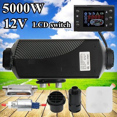 5KW 12V Air Diesel Heater Tank Vent, Duct, LCD Thermostat Caravan + Silencer PO