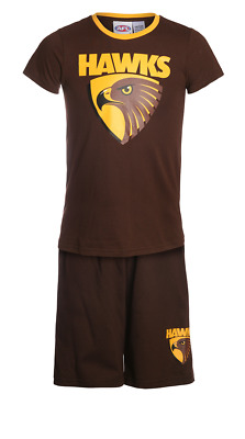 Boys & Girls Pjs 12-14 AFL Official Hawthorn Hawks Summer Short Pyjamas
