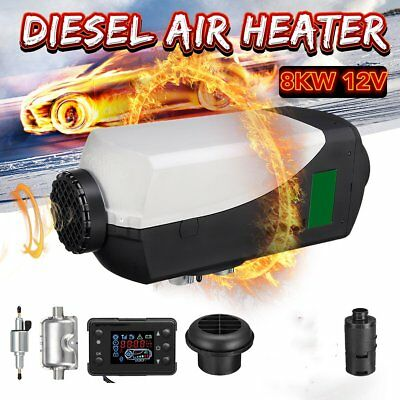 8KW 12V Diesel Air Heater Parking Heating+LCD Switch,Silencer+Filter+10L T PO