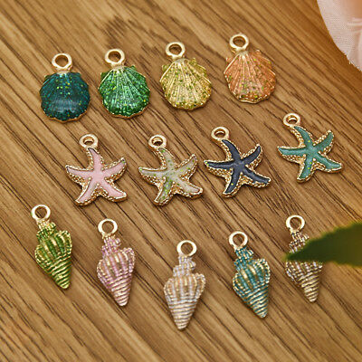 13Pcs Conch Sea Shell Pendant DIY Charms Jewelry Making Handmade Accessories S5