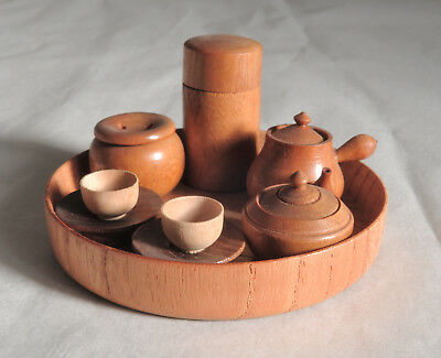 Japanese Vintage Miniature Wooden Tea set