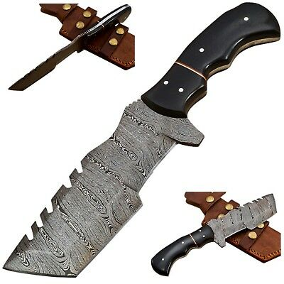 Custom Twist Damascus Steel Tanto Tracker Hunting Knife EE25 Micarta Handle