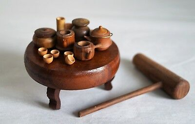 Japanese Miniature Wooden Tea set and Extra : JUNK
