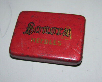Rare Sonora Red Gramophone Needle Tin With Contents In Good Vintage Condition