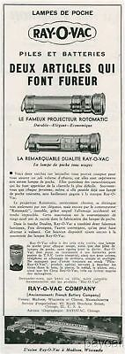 1935 French Ad Print RAY-O-VAC Madison Battery Torches Rotomatic Dualite