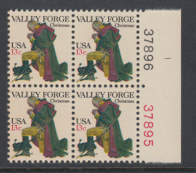 UNITED STATES. 13c Valley Forge PLATED Block of 4 MUH.