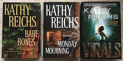 Lot 3 Kathy Reichs Hardcover: Virals, Monday Mourning, Bare Bones - forensics