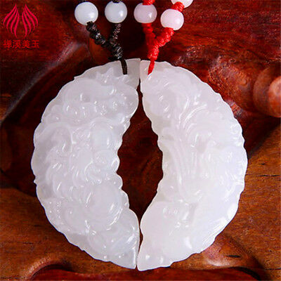 Chinese natural White nephrite hand-carved Dragon Phoenix pair of lover' pendant